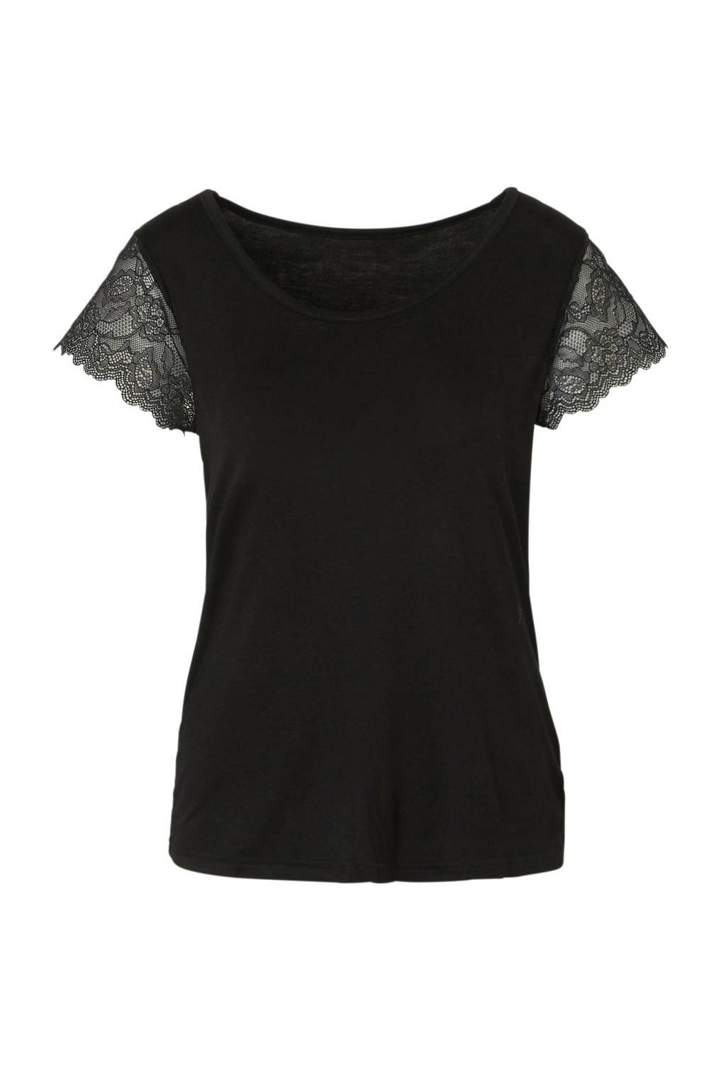 Sassa Mode pyjamatop met kant zwart, Zwart