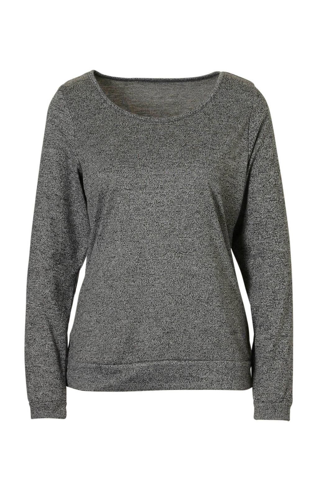 Sassa Mode pyjamatop met ronde hals grijs mêlee, grijs mêlee