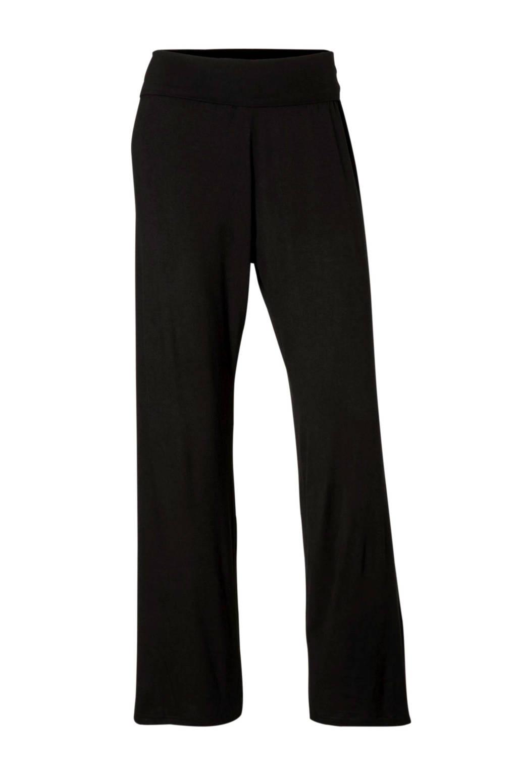 Sassa Mode pyjamabroek met omslag zwart, Zwart