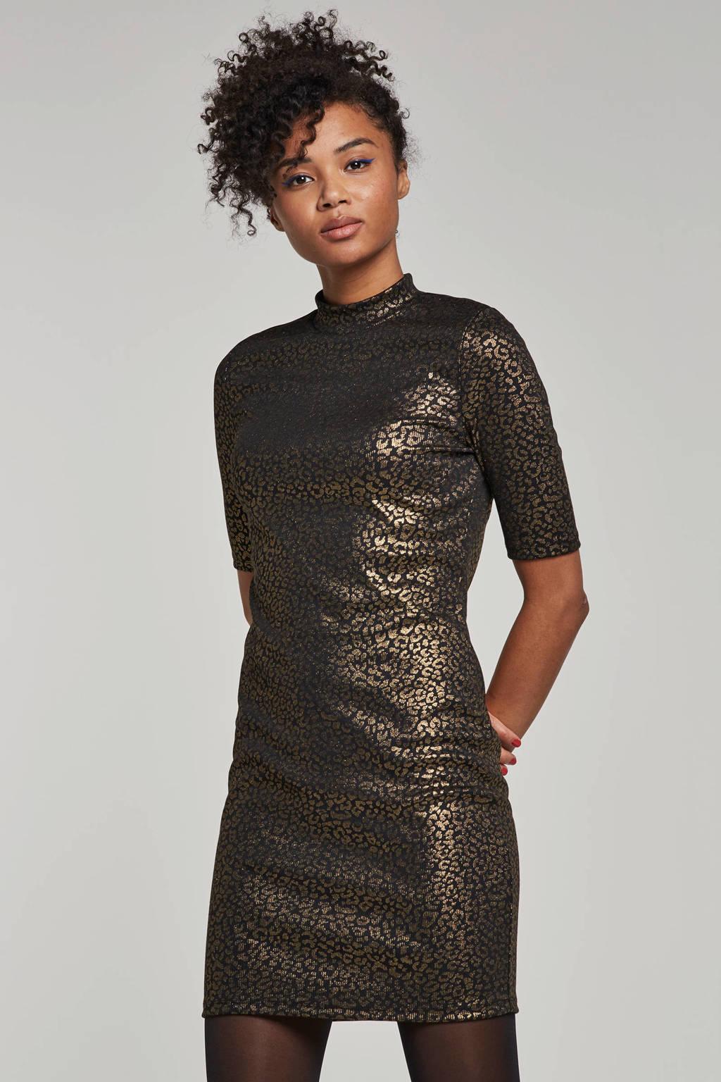 Noisy may metallic jurk, Zwart/goud