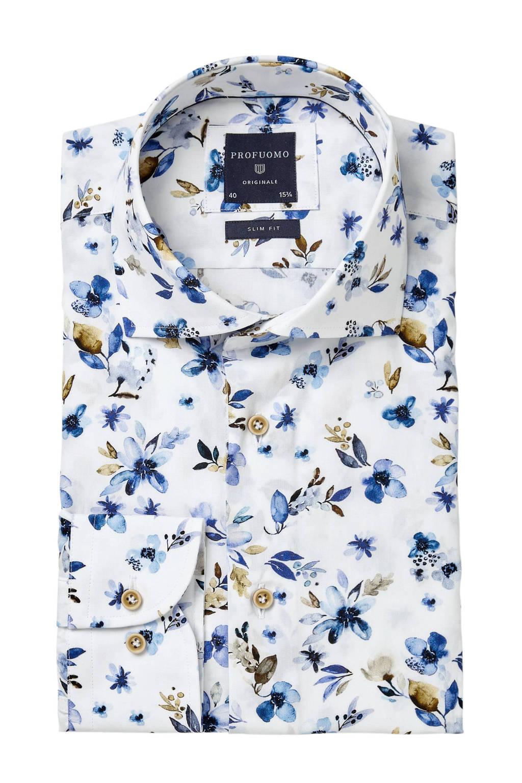 Profuomo slim fit overhemd met print, Wit/blauw