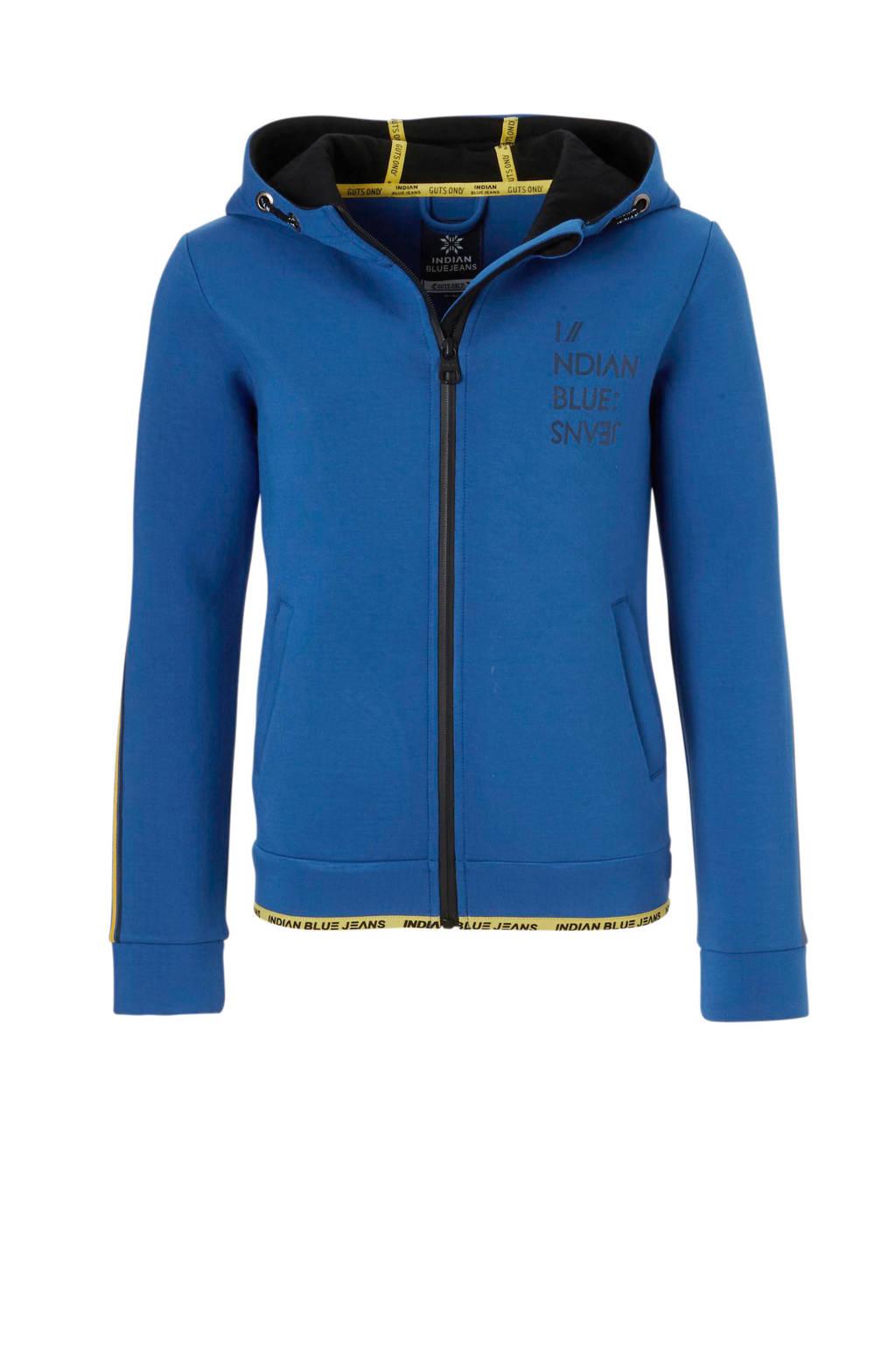 Indian Blue Jeans scuba vest met contrastbies blauw, Blauw