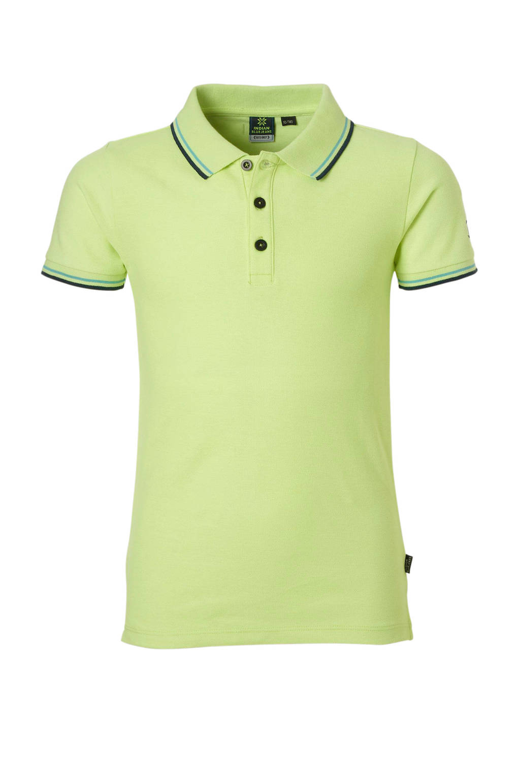 Indian Blue Jeans polo met contrastbies lime, Lime groen