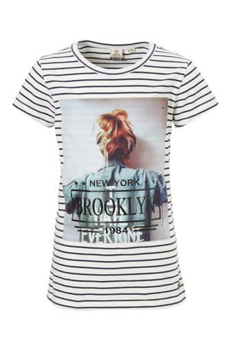 gestreept T-shirt met print
