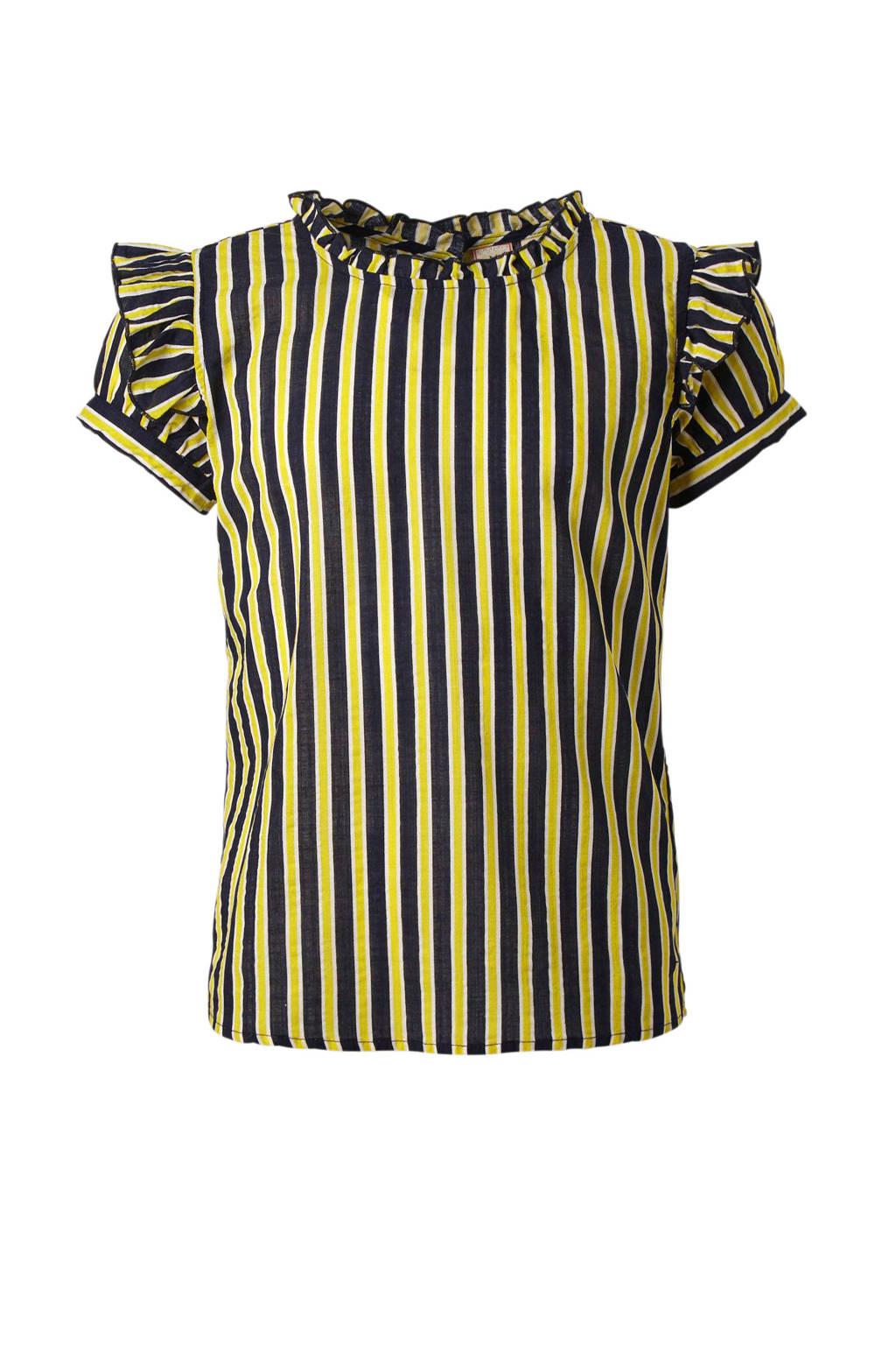 Indian Blue Jeans gestreepte top met ruches geel/blauw, Geel/donkerblauw