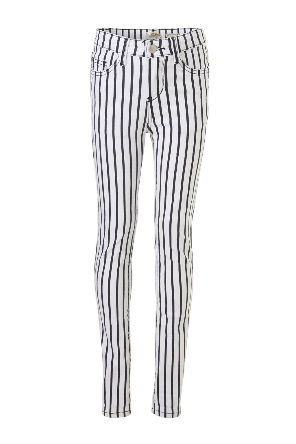 Indian Blue Jeans gestreepte broek met hoge taille Lois, Wit/zwart