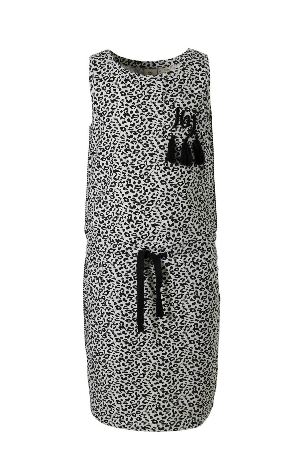 Indian Blue Jeans mouwloze jurk met panterprint zwart, Zwart/wit