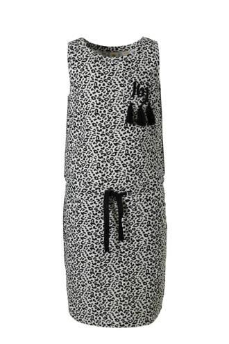 mouwloze jurk met panterprint zwart