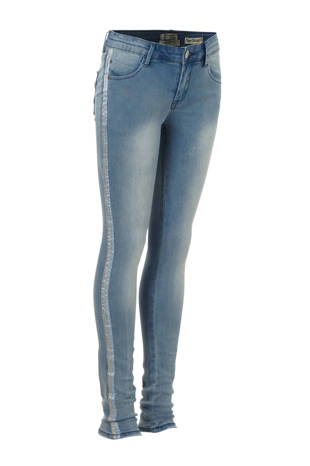 Indian Blue Jeans super skinny jeans Jazz met zijstreep, Light stonewashed