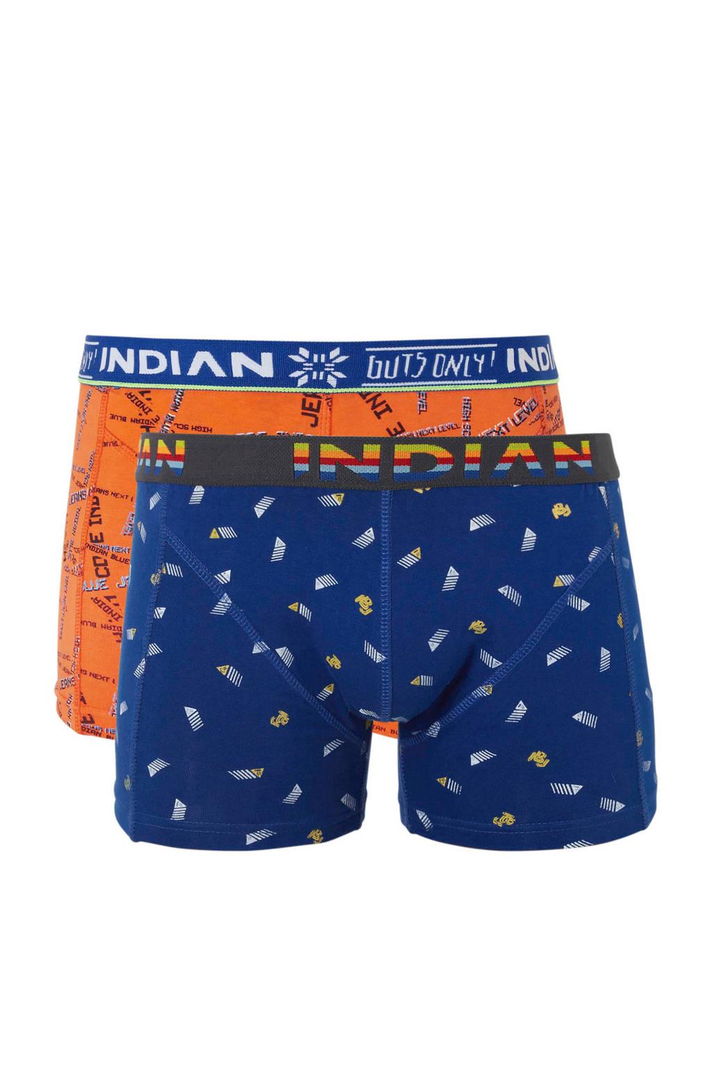 Indian Blue Jeans   boxershort - set van 2, Neon oranje/ kobaltblauw