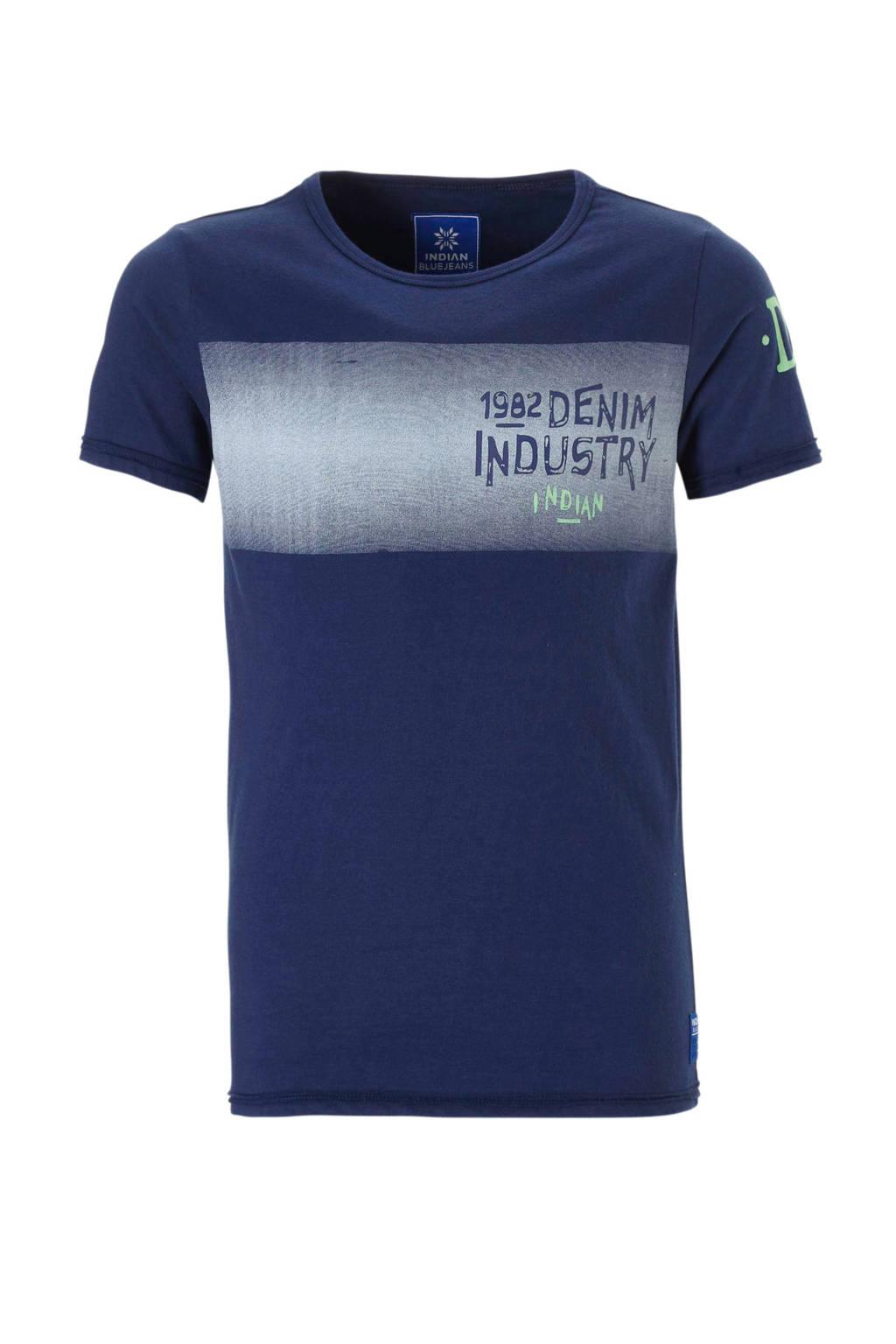 Indian Blue Jeans T-shirt met print donkerblauw, Donkerblauw
