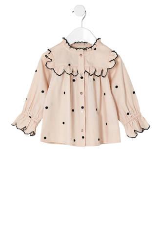 blouse met ruches en stippen