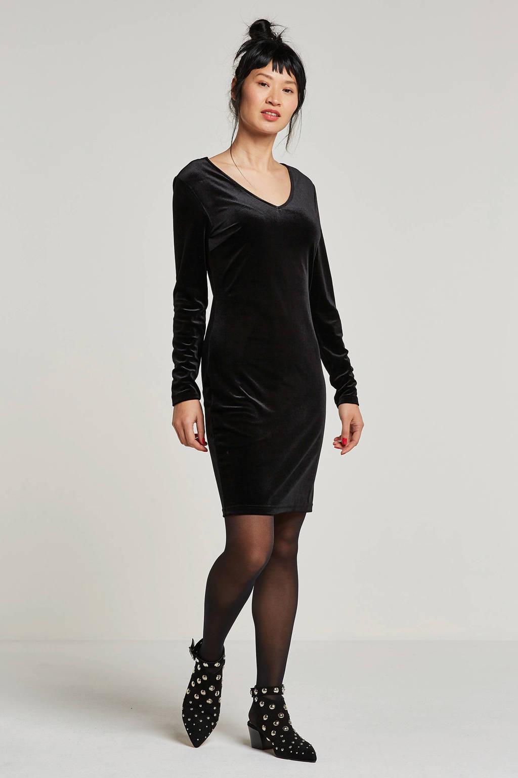 JACQUELINE DE YONG fluwelen jurk, Zwart
