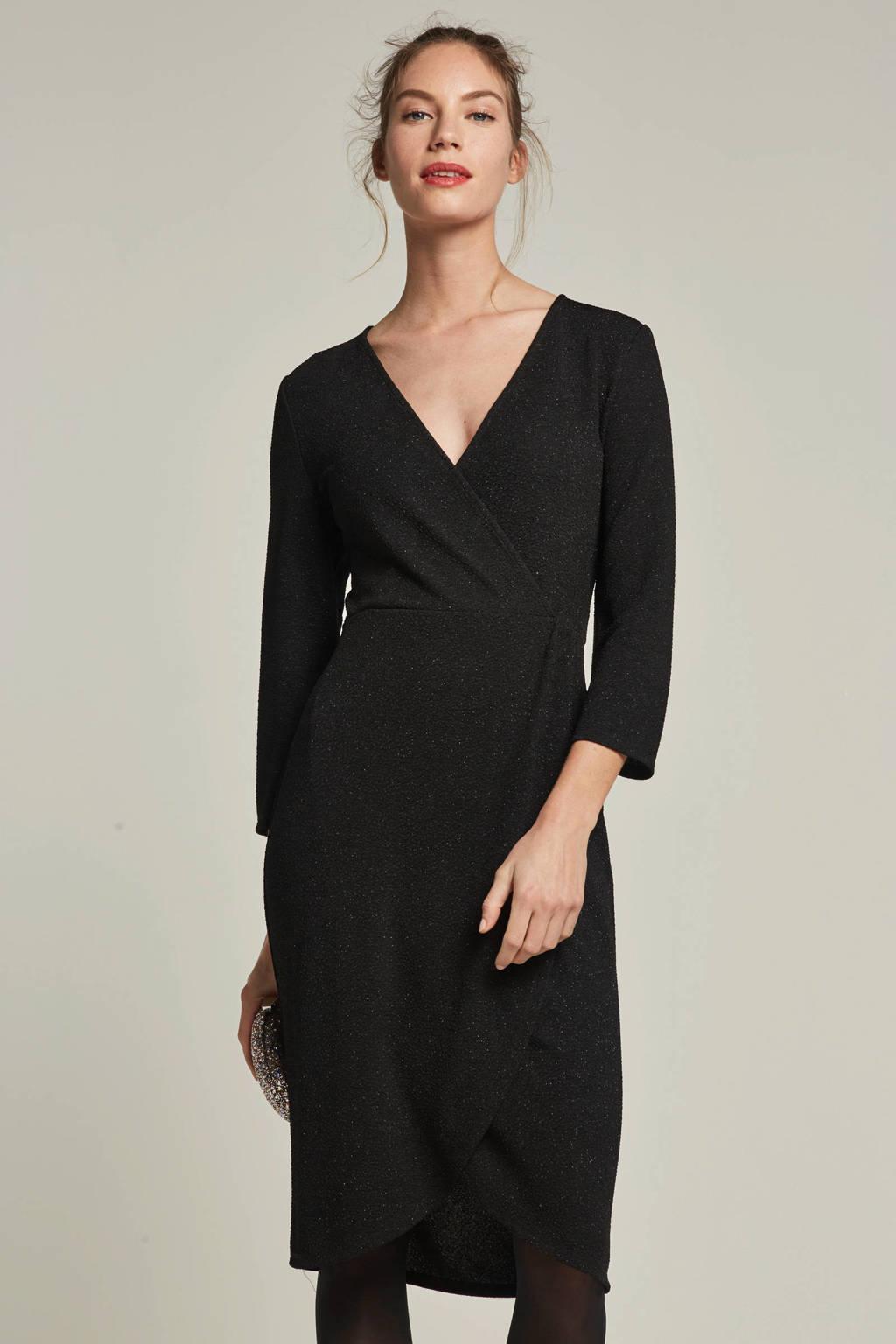 JACQUELINE DE YONG overslag jurk met glitter details, Zwart