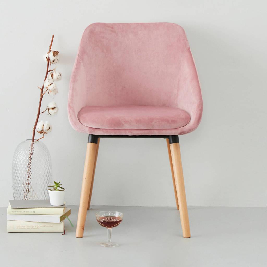 whkmp's own eetkamerstoel Olivia velours (set van 2), Roze, Velours (100% polyester)/ beukenhout
