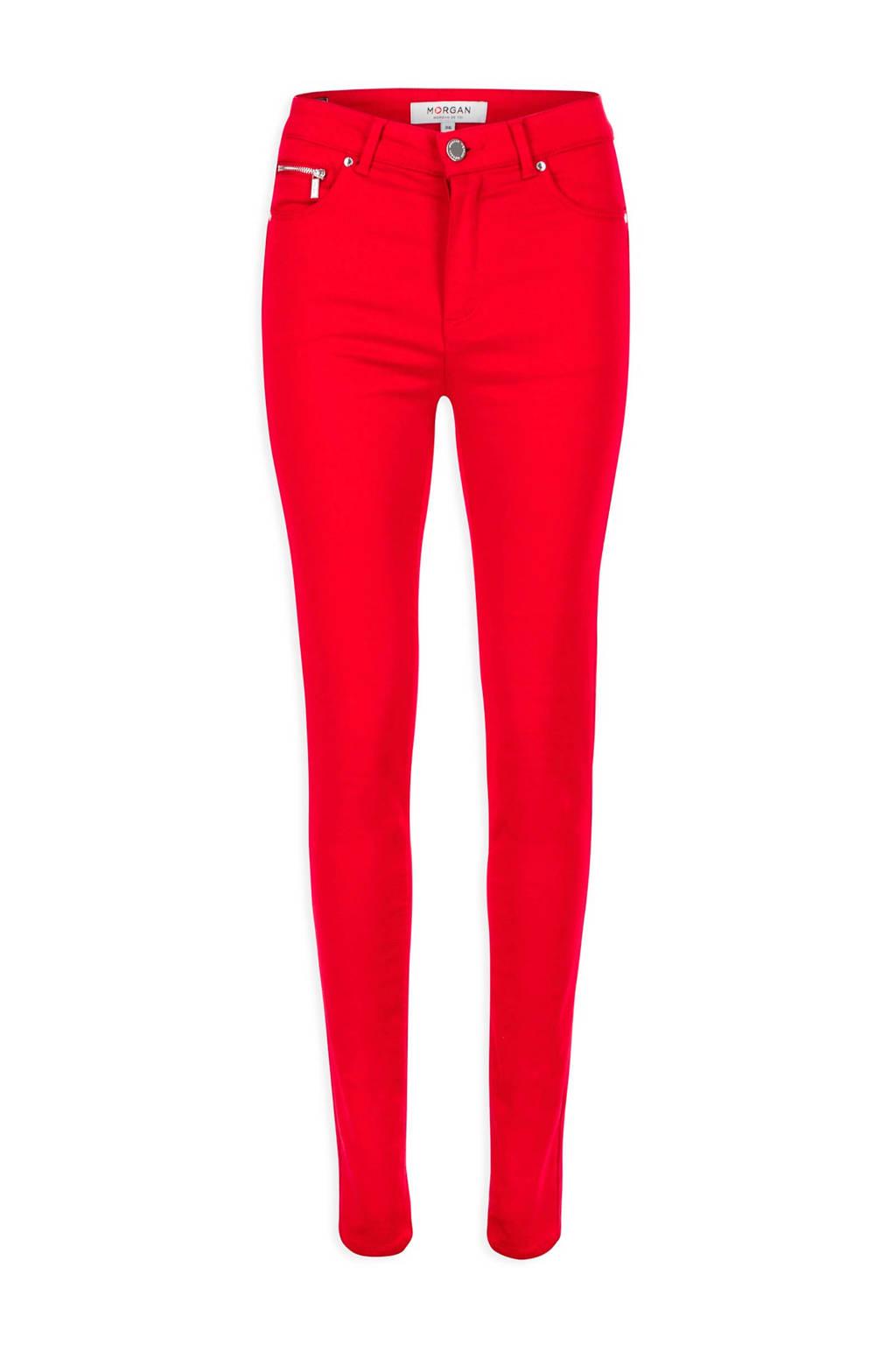 Morgan 7/8 slim fit broek Petri met katoen rood, Rood