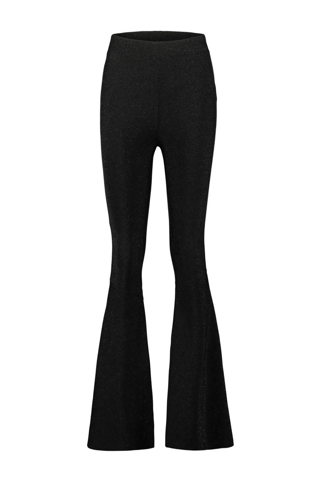 CoolCat high waist flared glitterbroek zwart, Zwart