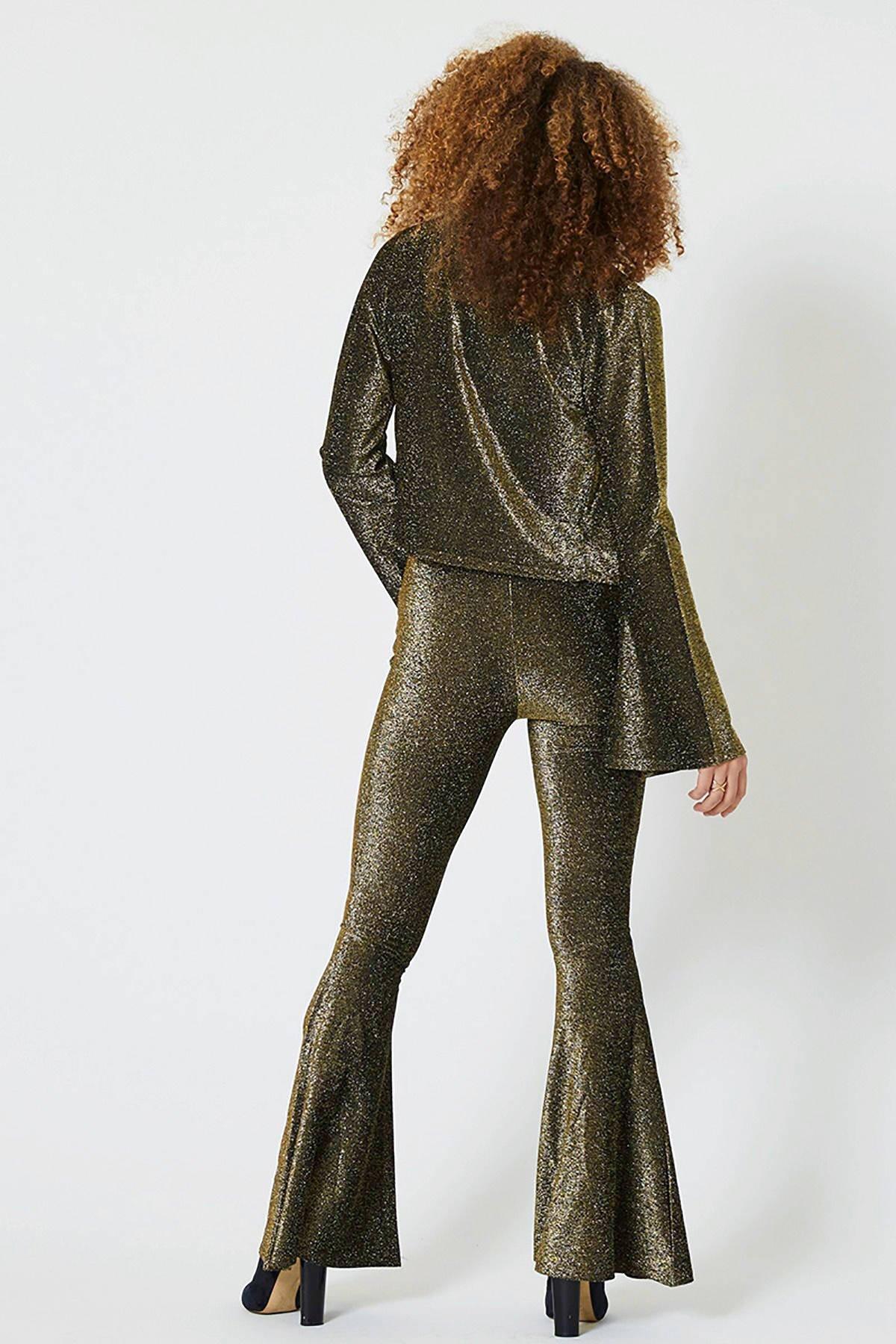 CoolCat high waist flared glitterbroek goud | wehkamp