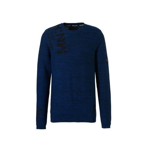 trui blauw-zwart melange