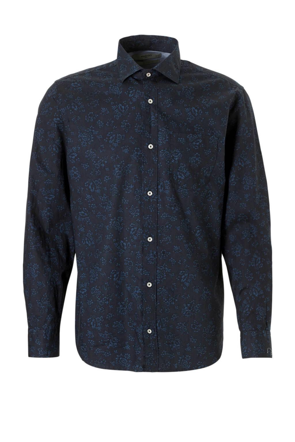 Overhemd Donkerblauw.Mango Man Gebloemd Slim Fit Overhemd Donkerblauw Wehkamp