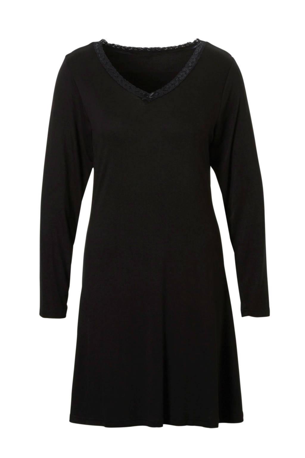 Sassa Mode nachthemd met kant zwart, Zwart