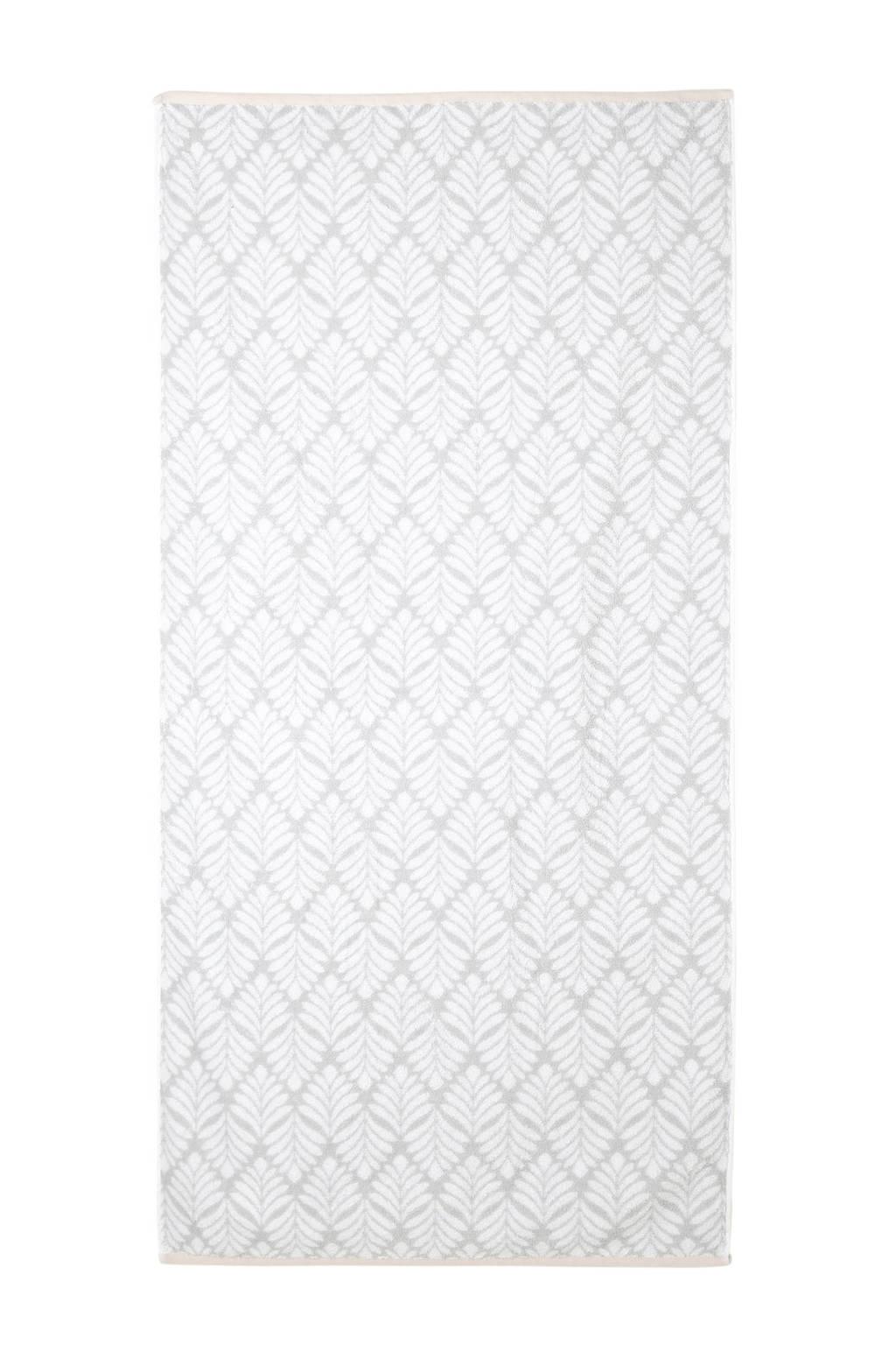 C&A Home handdoek (140x70 cm), Lichtgrijs/wit/roze