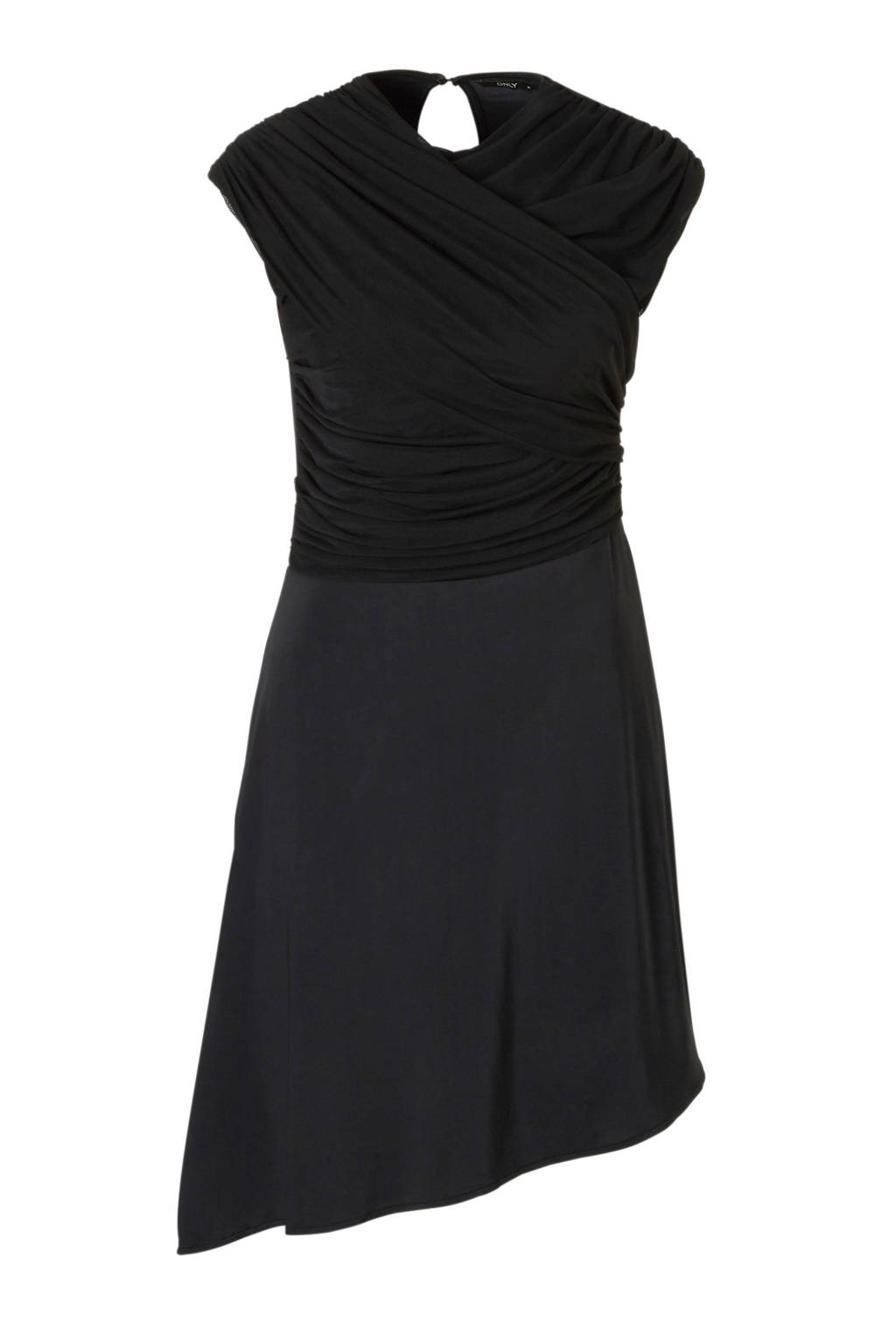 ONLY jurk met mesh en schuine rok, Zwart