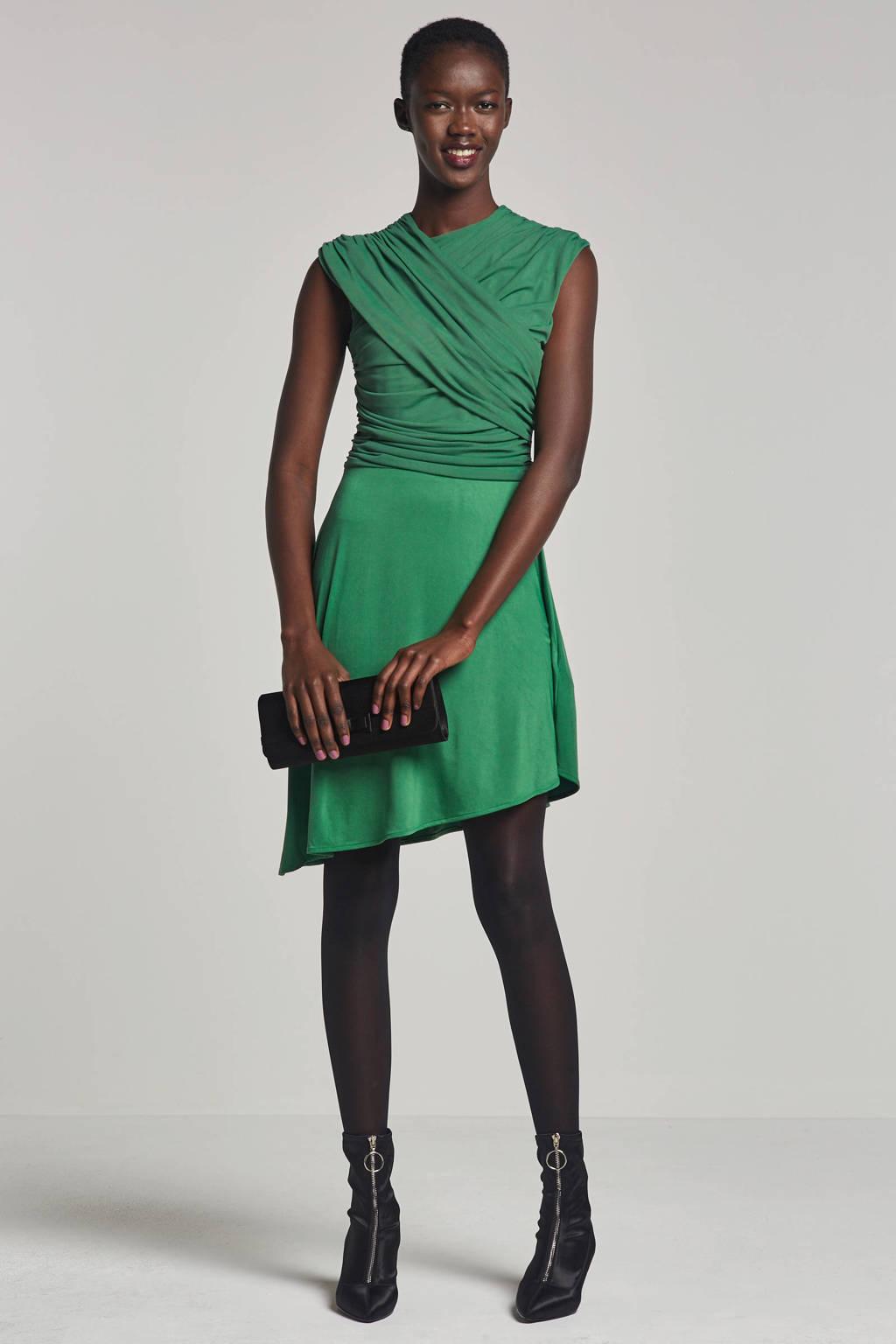 ONLY jurk met mesh en schuine rok, Groen