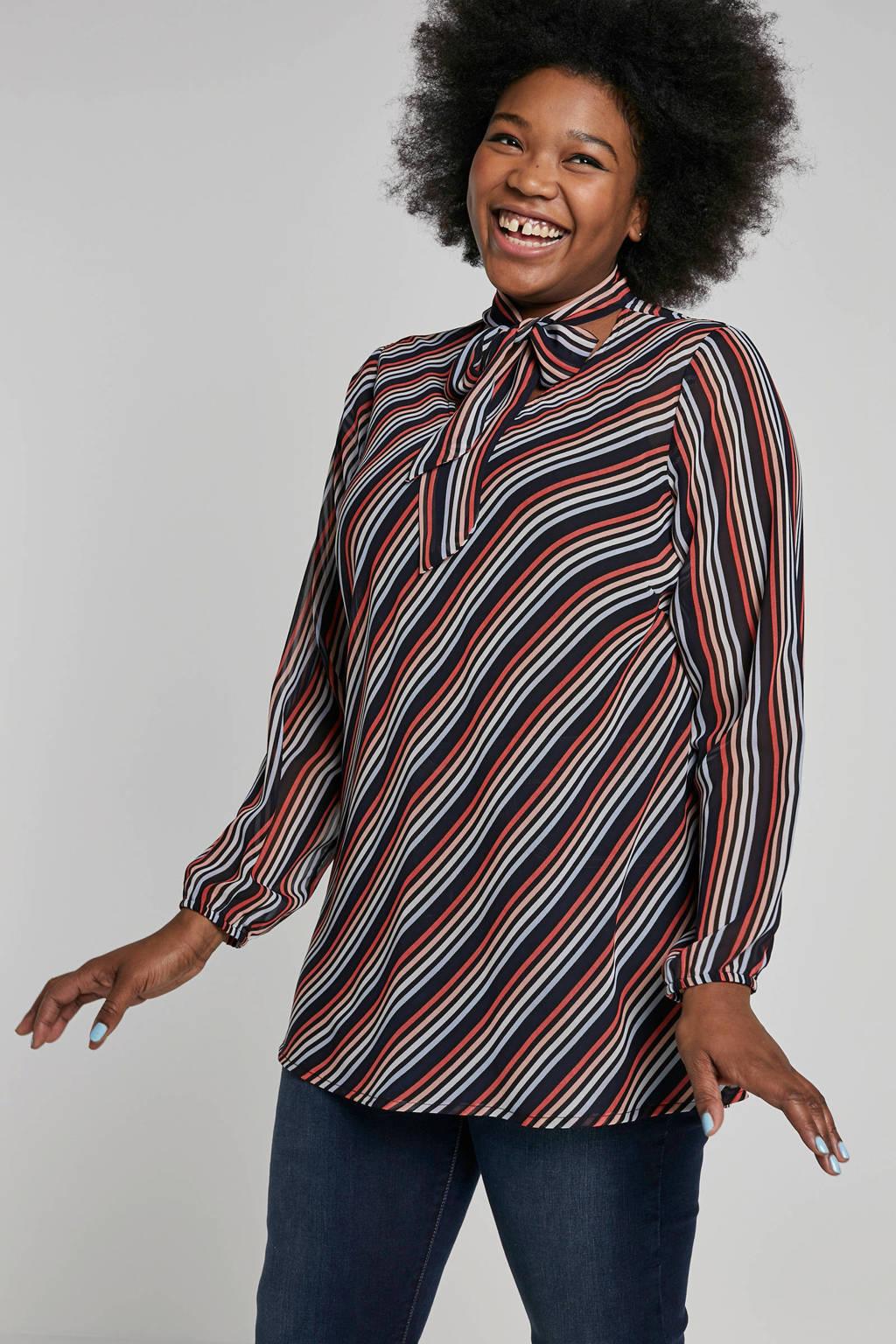 Adia gestreepte top met strikdetail, Zwart/blauw/rood