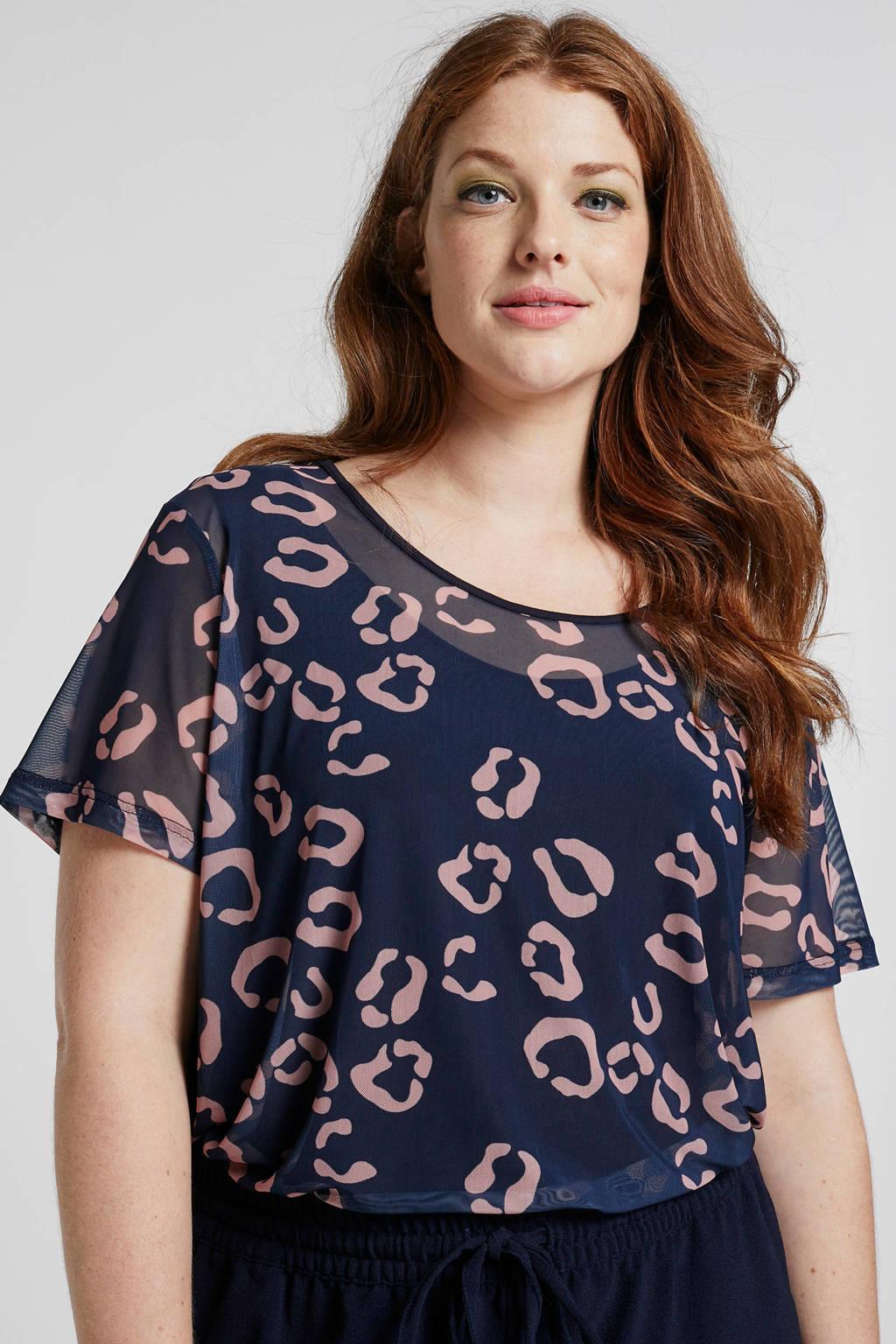 Adia top met luipaardprint, Donkerblauw/roze