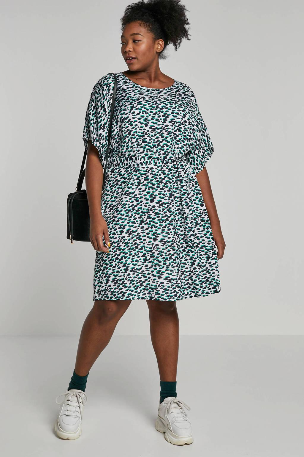 Adia jurk met bindceintuur, Wit/ groen/ zwart