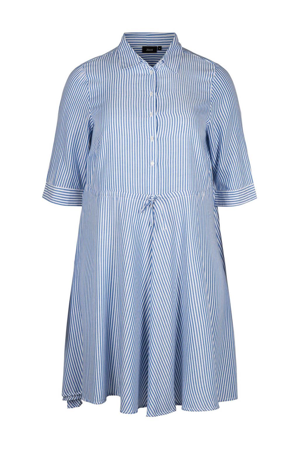 Zizzi jurk met strepen, blauw/ wit