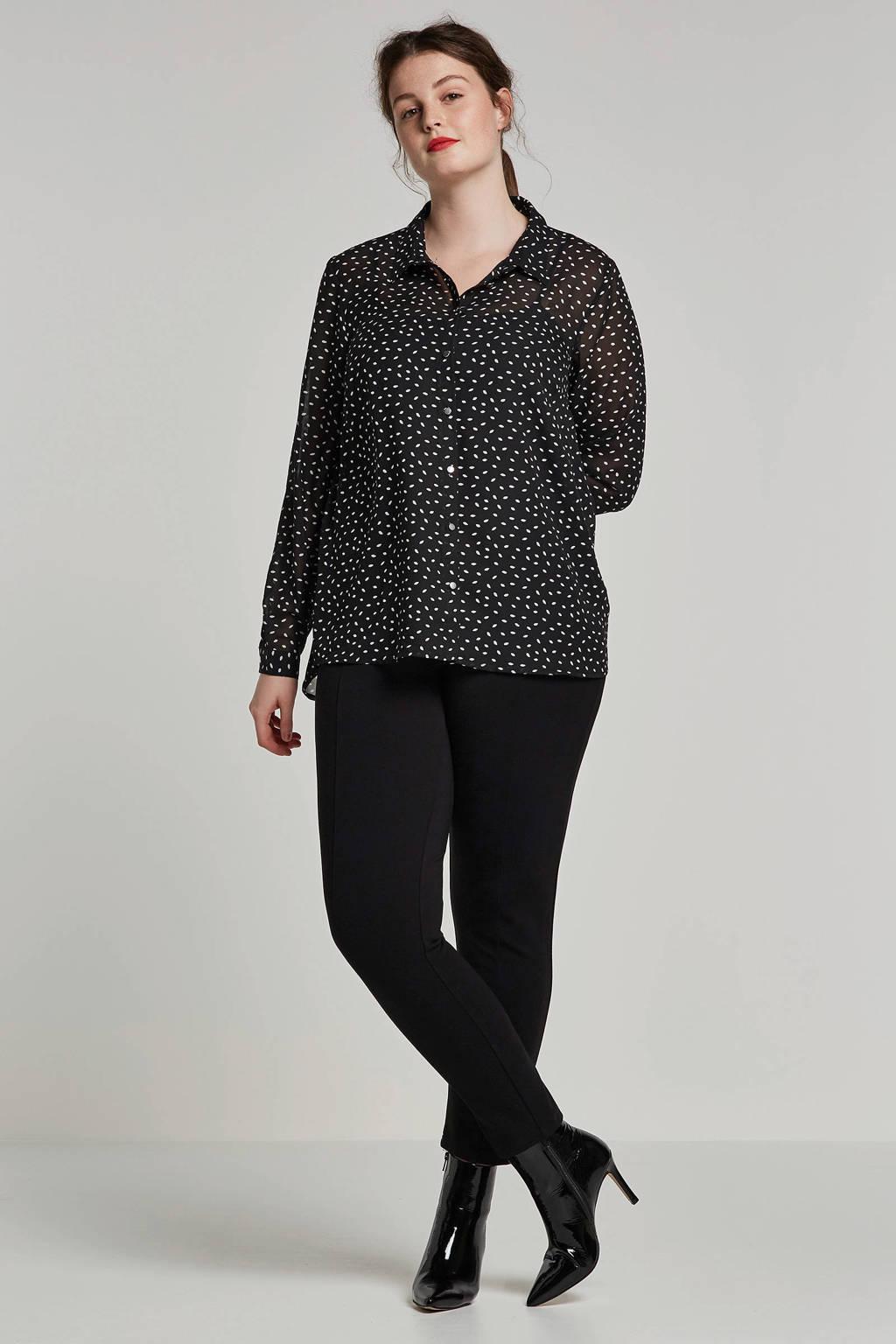 Zizzi blouse met all over print zwart, Zwart