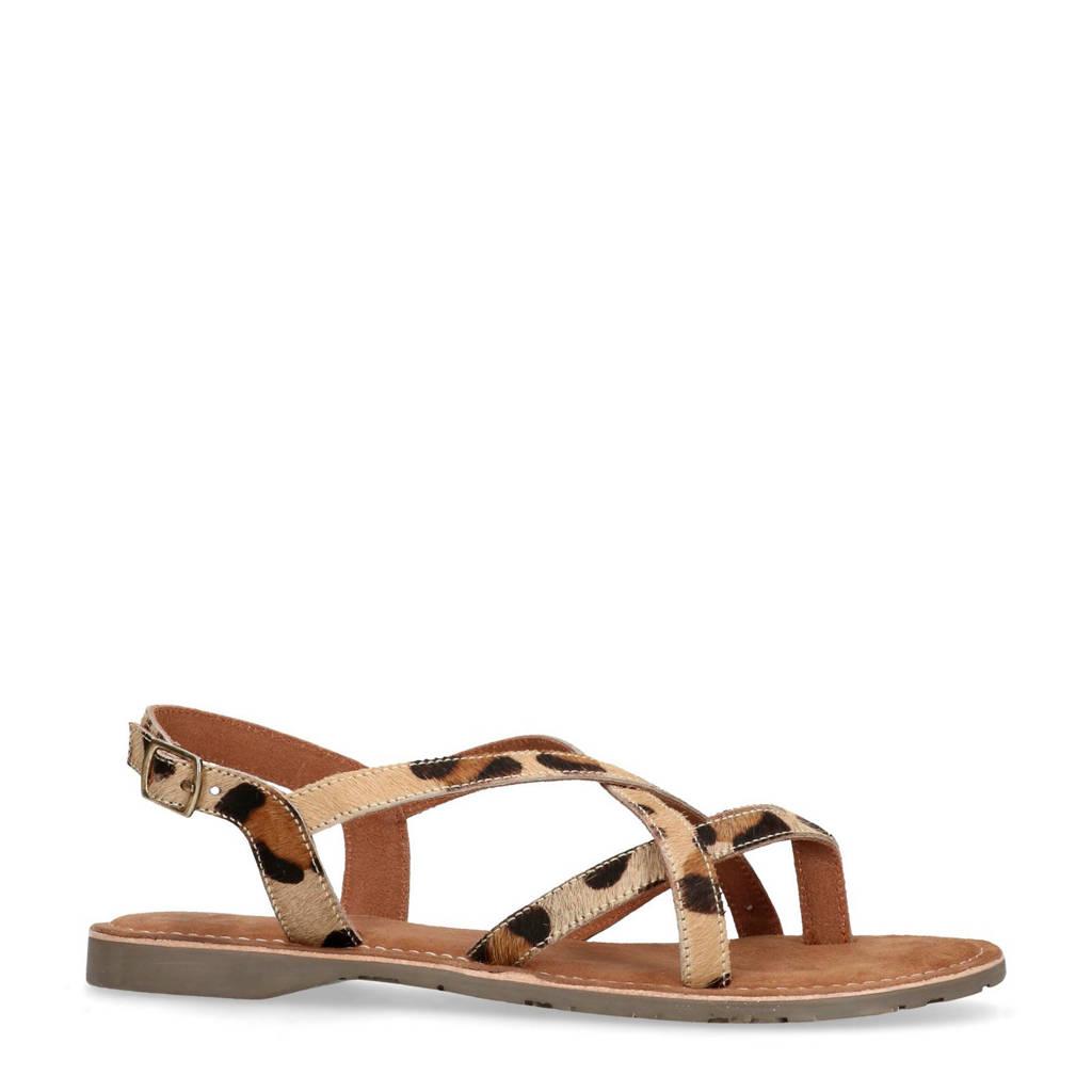 Manfield sandalen met panterprint, Bruin