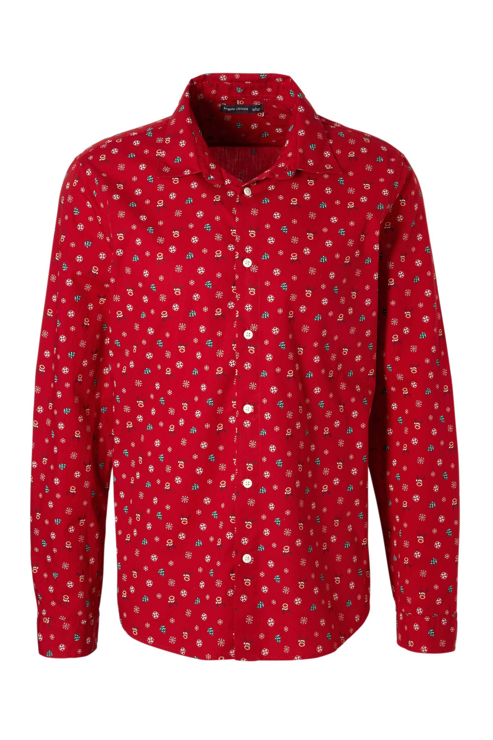 Overhemd Kerst.Angelo Litrico Overhemd Met Kerstmotief Rood