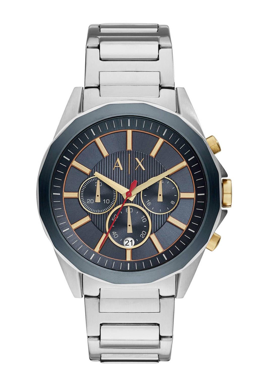 Armani Exchange horloge Drexler AX2614, rvs/blauw