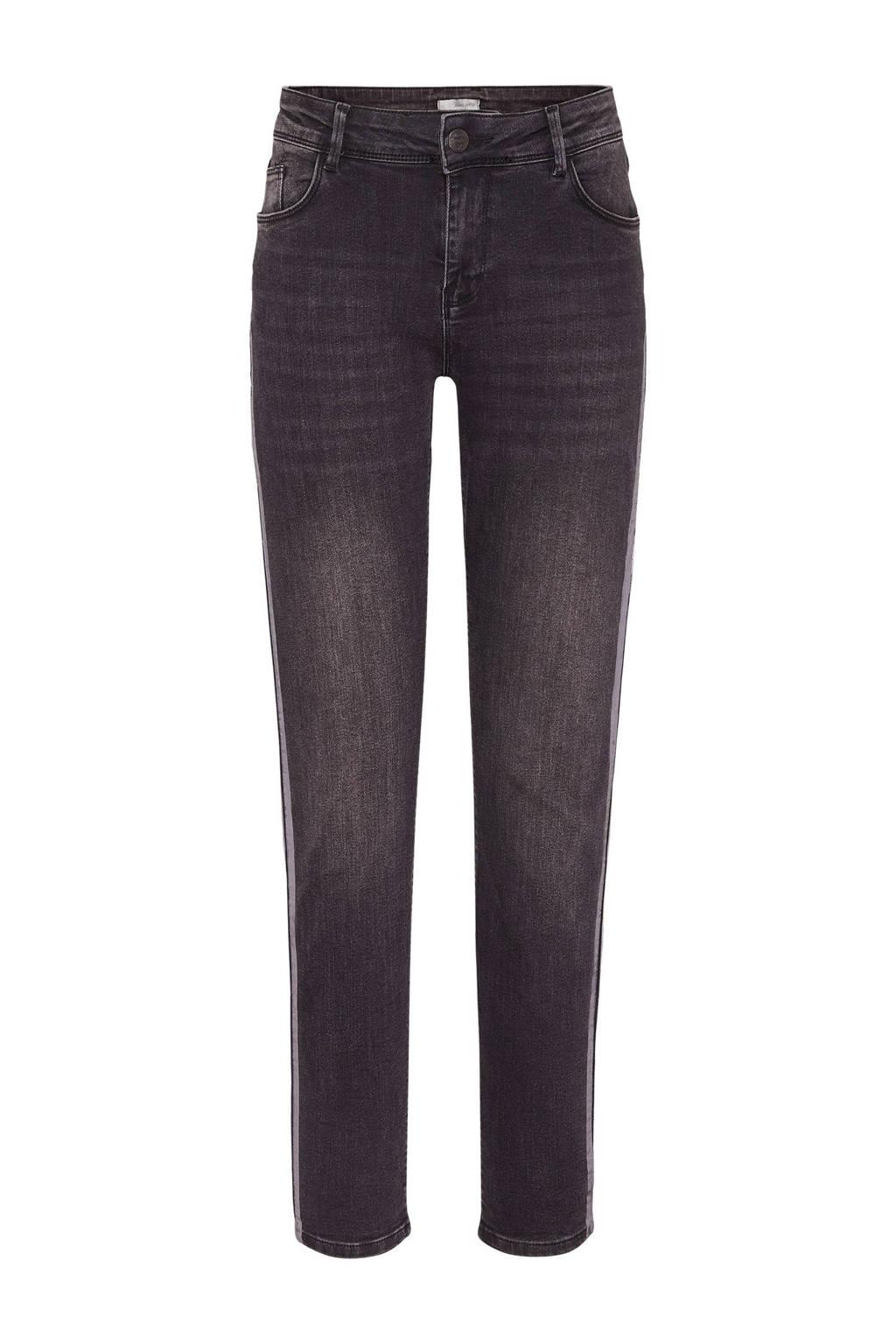 Didi skinny jeans met zijstreep zwart/zilver, Zwart