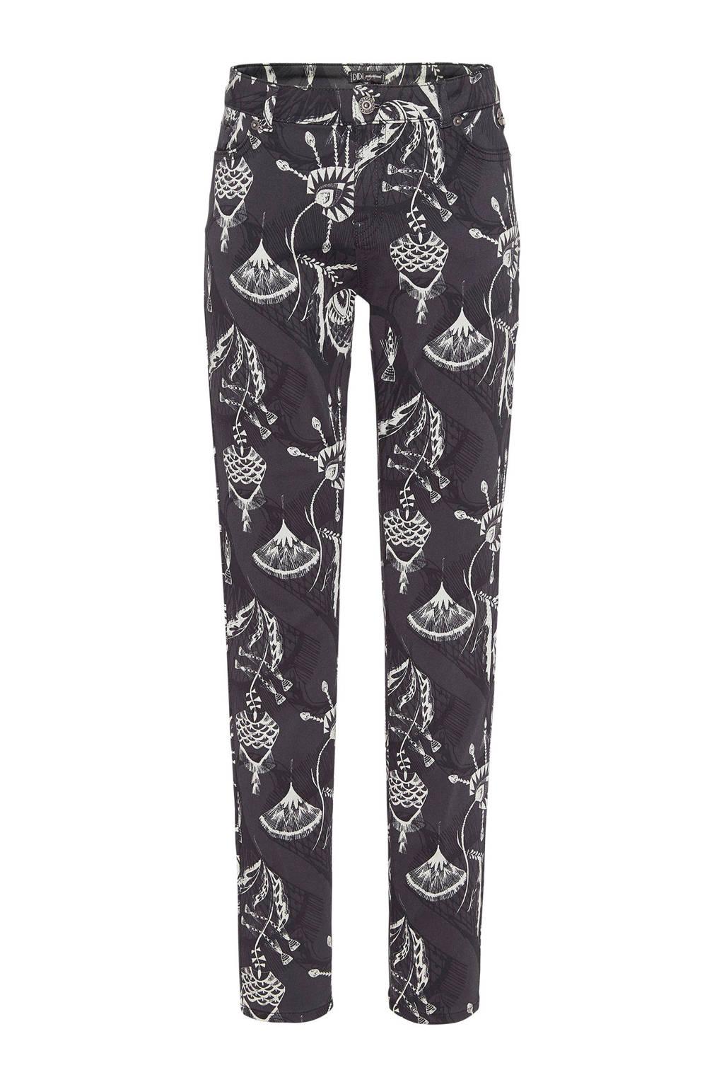 Didi skinny jeans met all over print, Antraciet/ Ecru