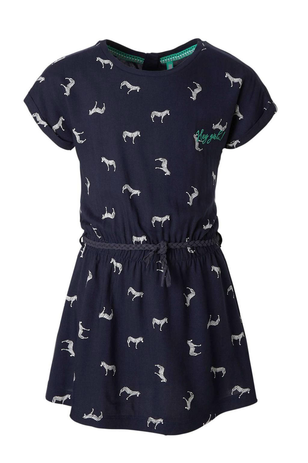 Quapi jurk Sharon met alloverprint donkerblauw, Donkerblauw