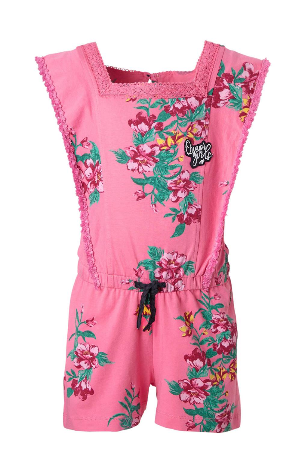 Quapi gebloemde jumpsuit Shenna roze, Roze/groen