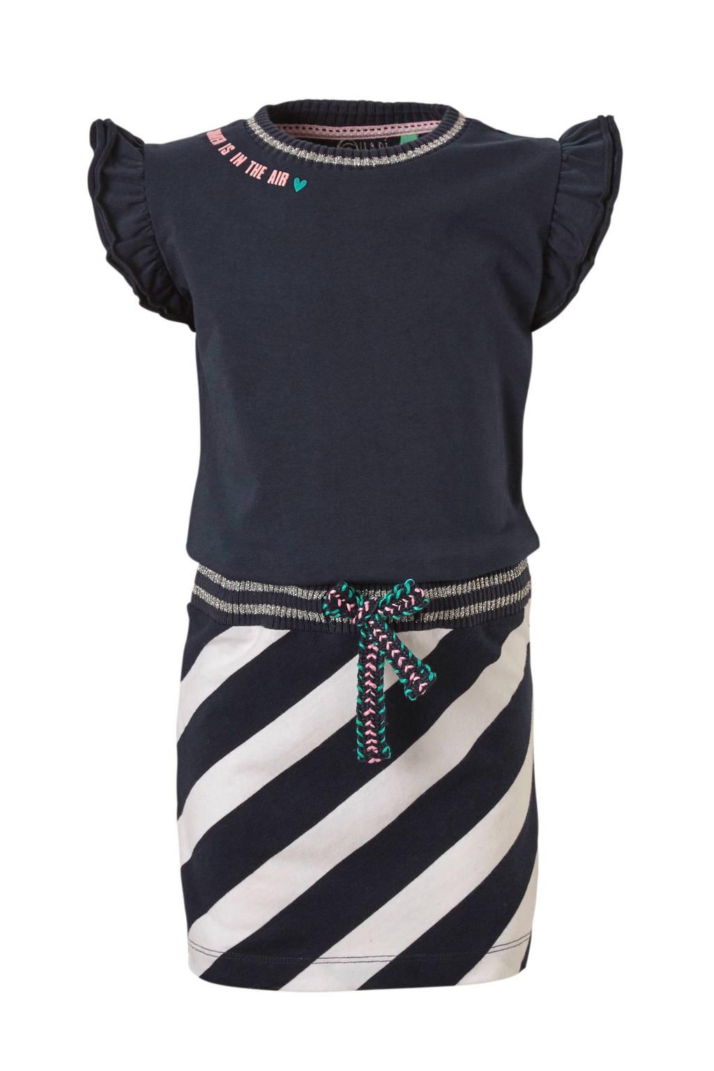 Quapi jurk Sabina met strepen blauw, Donkerblauw/wit