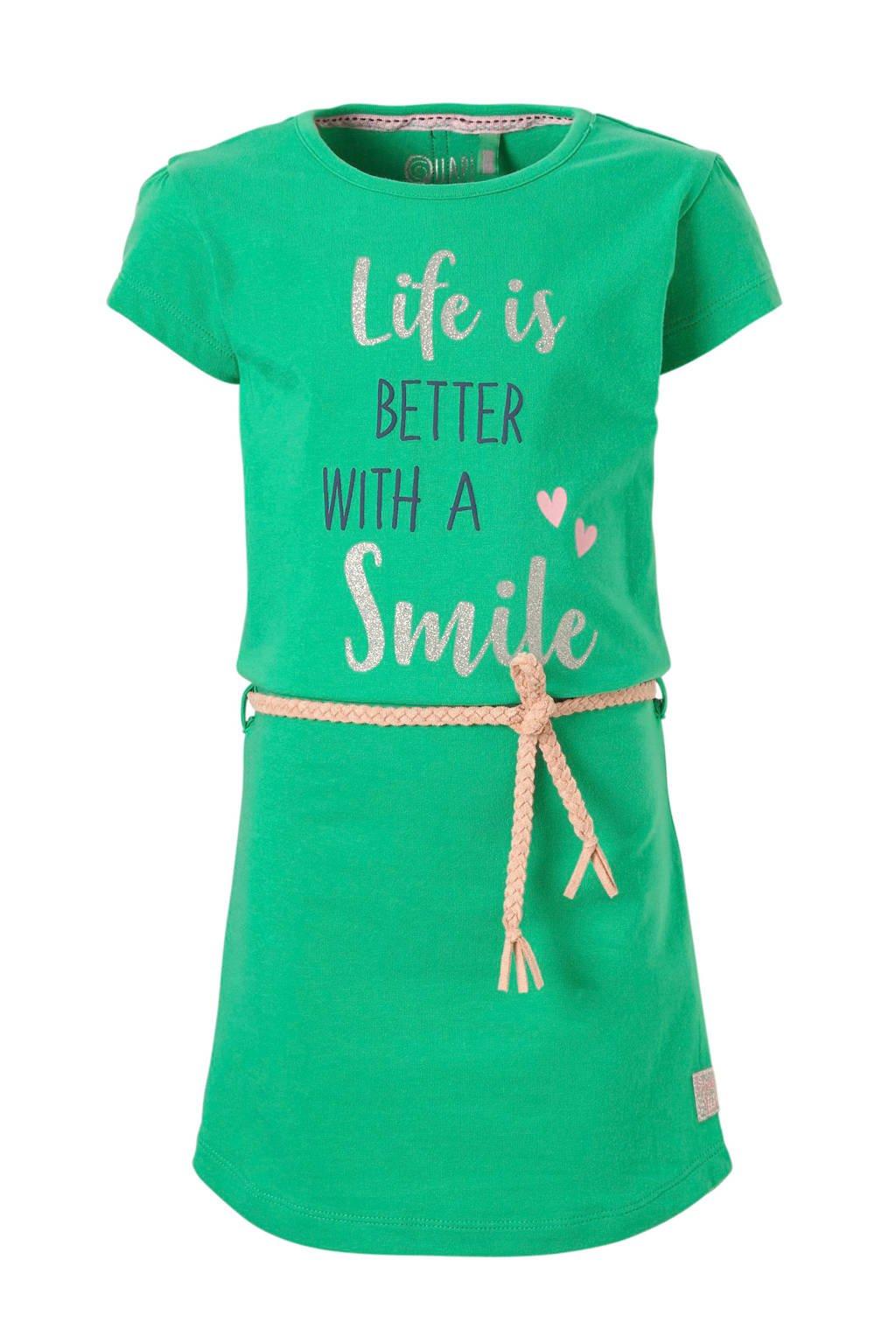 Quapi jurk Saar met tekst groen, Groen