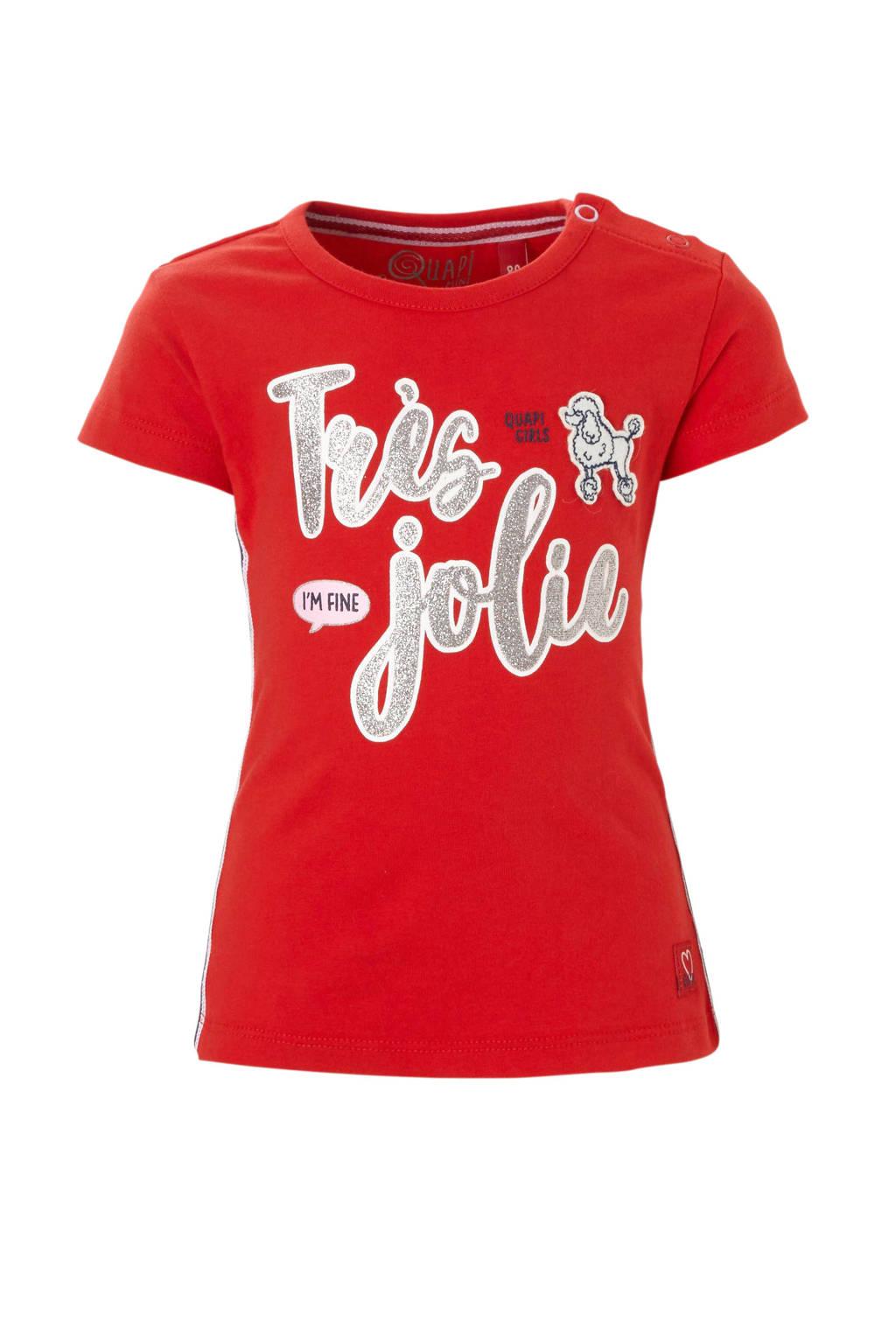 Quapi baby T-shirt met tekst Roma rood, Rood