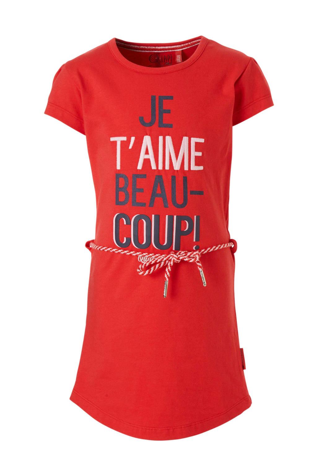 Quapi jurk Saar met tekst rood, Rood