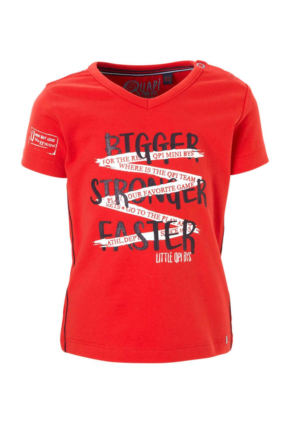 Quapi baby T-shirt met print Rhon rood, Rood