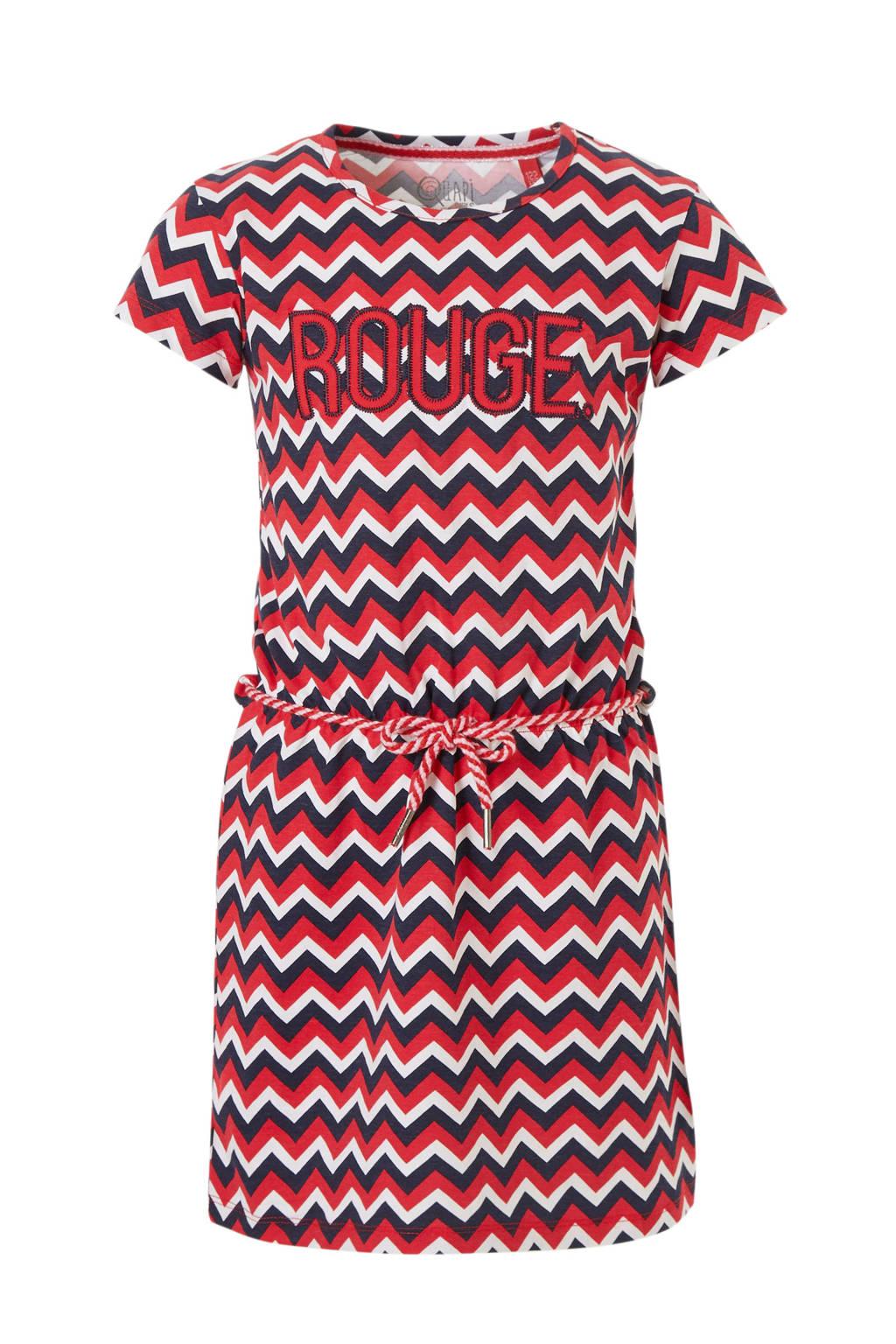 Quapi jurk Samira met tekst en grafische print rood, Rood/donkerblauw/wit