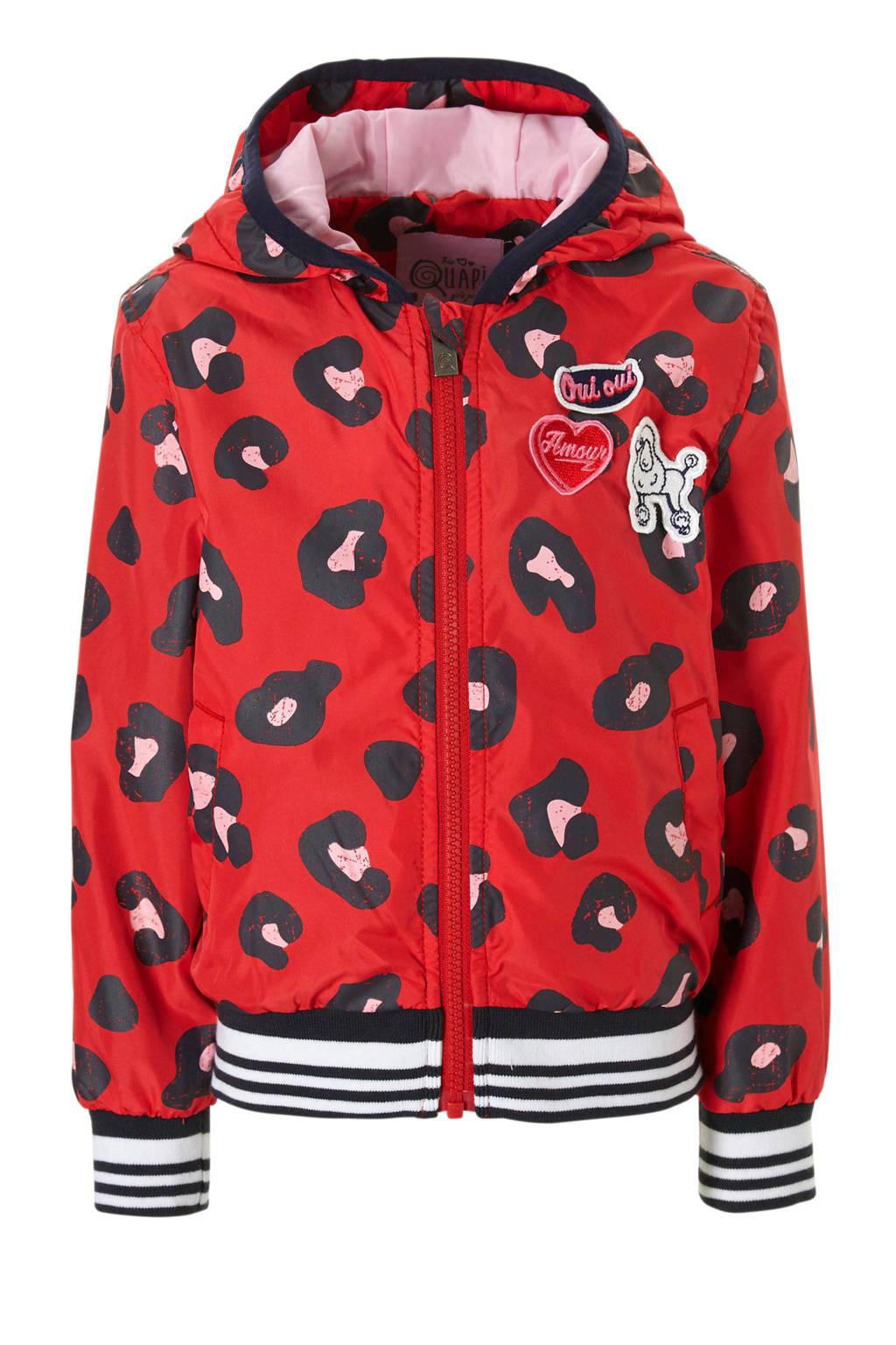 Quapi zomerjas met panterprint Sarella rood, Rood/zwart/roze