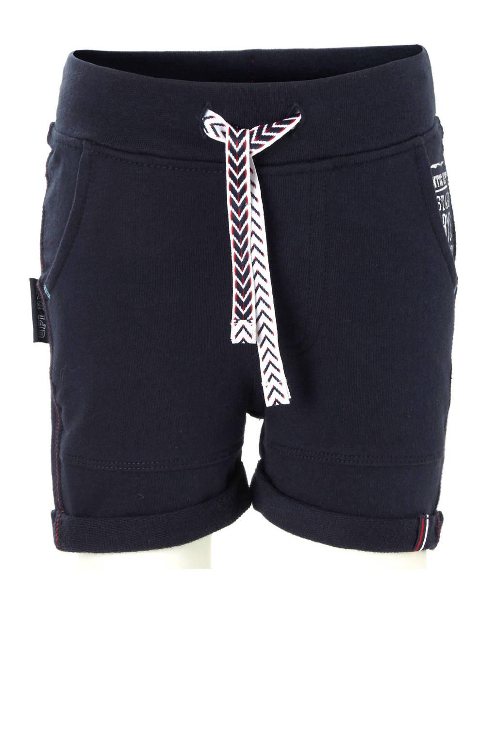 Quapi baby sweatshort Robbin met printopdruk donkerblauw, Donkerblauw