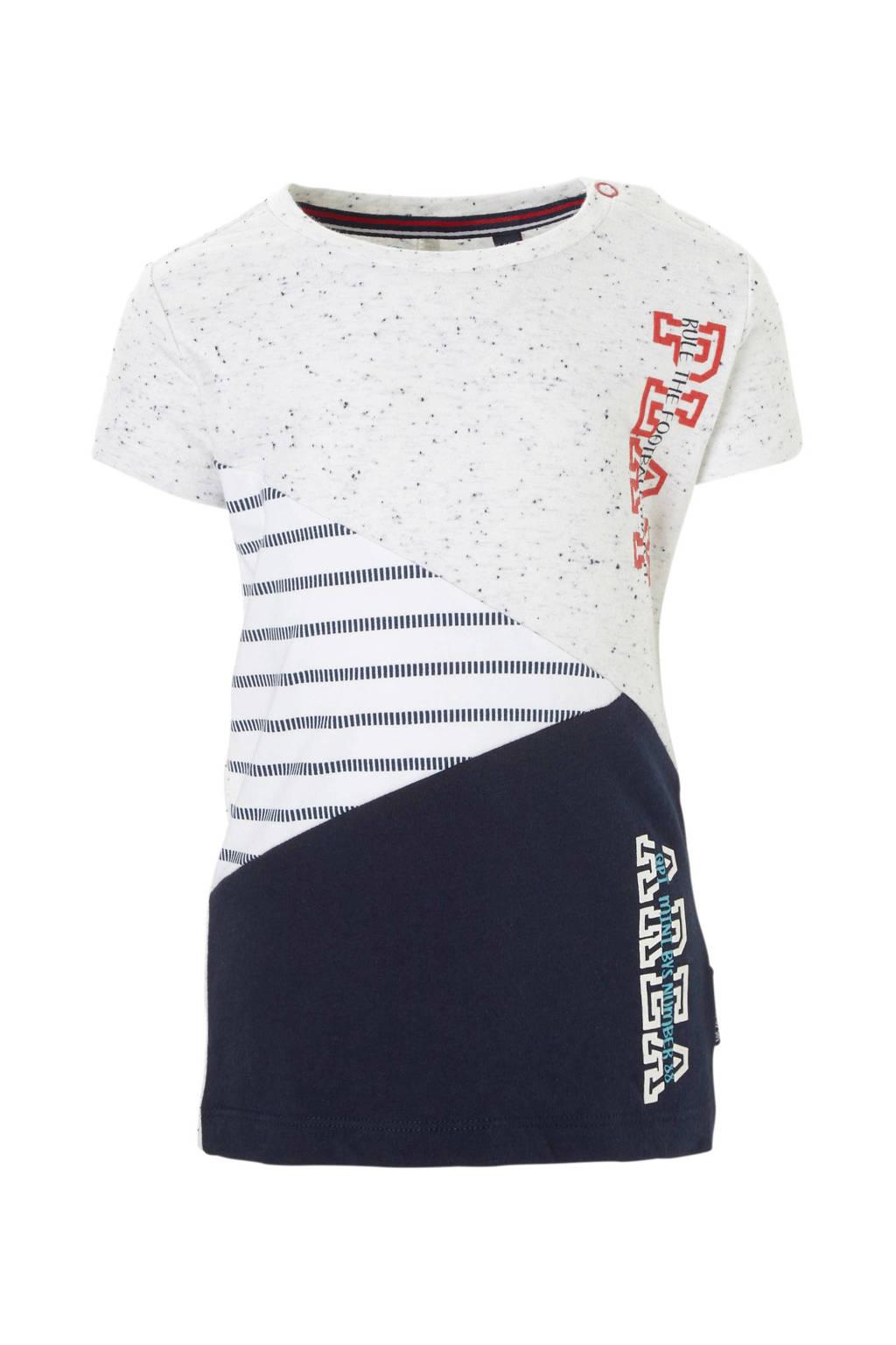 Quapi baby T-shirt met print Rick donkerblauw, Donkerblauw/wit