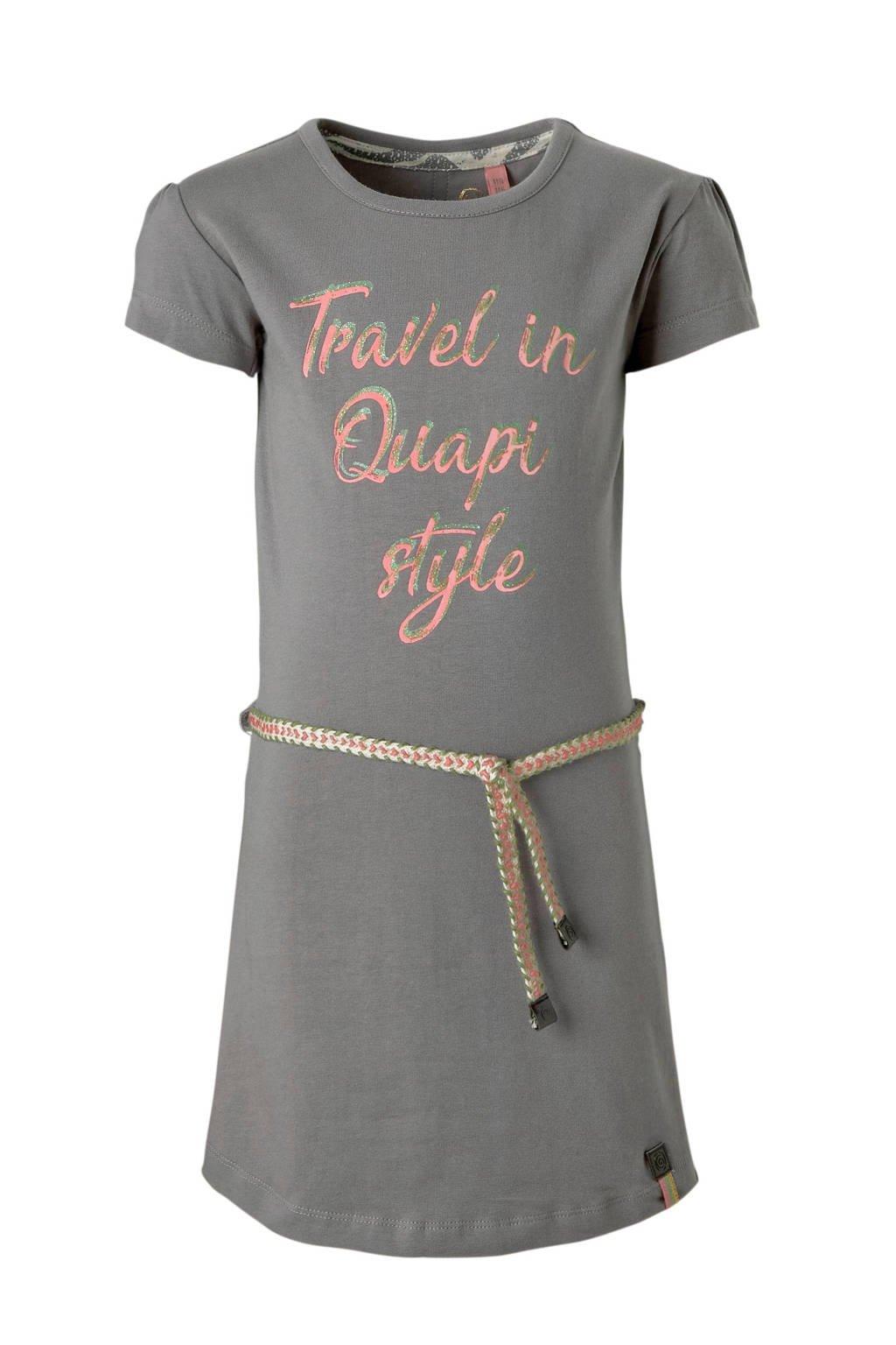 Quapi jurk met tekst Saar grijs, Grijs
